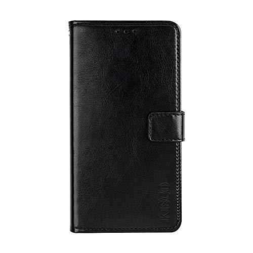 KISCO für Asus Zenfone 3 Deluxe ZS550KL Lederhülle,Leder Flip Wallet Magnetische [Kartensteckplätze][Standfunktion] mit Crazy Horse Textur Hülle für Asus Zenfone 3 Deluxe ZS550KL-Schwarz