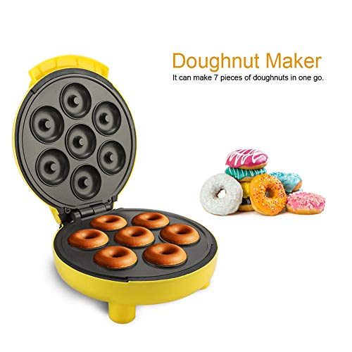 lyrlody Máquina de Rosquilla Eléctrico Máquina de Hacer Buñuelos Antiadherente Mini Molde de Donuts Donutera Gofrera Electrica Enchufe de la UE 220V 23 * 20.5 * 11 cm