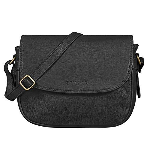 STILORD 'Loreen' Frauen Handtasche Klein Leder Tasche Damen Umhängetasche zum Ausgehen Elegante Abendtasche Partytasche Freizeittasche Echtes Vintage Leder, Farbe:schwarz