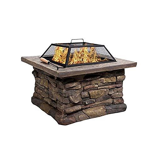 AWJ Hoyo de Fuego para jardín, Mesa de Barbacoa de Piedra, hogueras de calefacción para Exterior con Parrilla de Cocina, Hoguera Cuadrada a Prueba de Lluvia, Quemador de