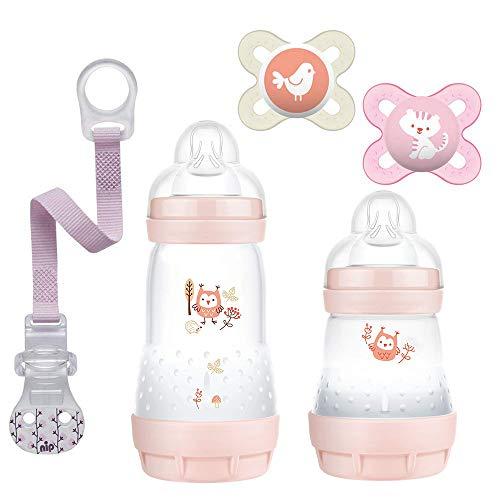 MAM Anti Colic zestaw dla noworodków Pretty Girl // 260 butelka anty-kolkowa 2 szt. & MAM Skin Soft silikonowy smoczek 2 szt. + opaska na smoczek NIP +