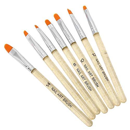 7pcs Nail Art Brush Set,Nail Painting Drawing Pen Liner Set, Nail Art Tips Builder, with Glitter Transparent Handle, for Salon DIY UV Gel Use(Gold)