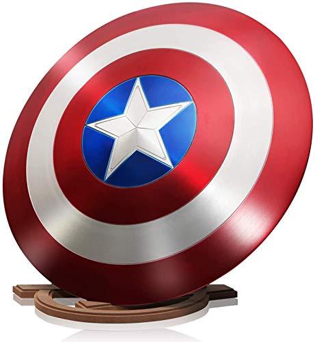 24 pulgadas Capitn Amrica Disfraz de Metal Shield Los Vengadores Marvel Adulto Uno Tamao 1: 1 Apoyos de Pelcula +Soporte de Madera A
