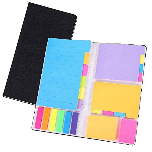 SIHOSTK 付箋 メモ ノート セット オフィス用品 かわいい 強粘着 ビジネス 学習 大容量 組み合わせ 色付き仕切り付箋 持ち運び 便利 多色 6種類 (ブラック, 20.5×10×1.5cm)