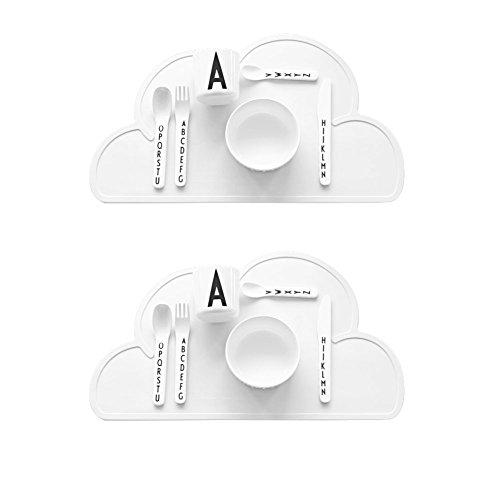 Ciaoed Silikon Platzset Wolke Geformte Potholder Wasserdicht Platzdeckchen Für Kinder 47,5 x 27 x 0,3 cm 2 Pcs (Weiß)