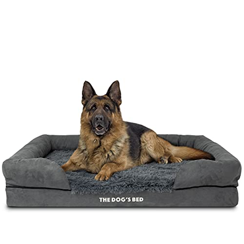 The Dog's Bed Orthopedic Dog Bed XL Grey Faux Fur 43.5x34, Premium Memory Foam, Pain Relief: Arthritis, Hip & Elbow Dysplasia, Post Surgery, Lameness, Supportive, Calming, Waterproof Washable Cover