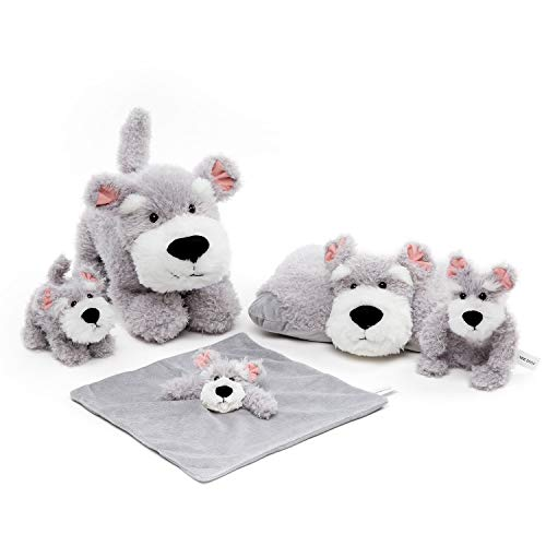 FRANKIEZHOU Unisex Baby Bedding Puppy Grey Dog Plush Toy Set with Plush Stuffed Animal Snuggler Blanket,Soft Ring Rattle,Baby Plush Pillow-Buy 1 Get 5 Best Gift for Boys Girls Kids