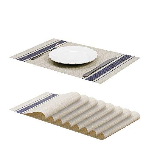 Jujin - Juego de 8 manteles Individuales Antideslizantes y Lavables de PVC Resistentes al Calor para Mesa de Comedor