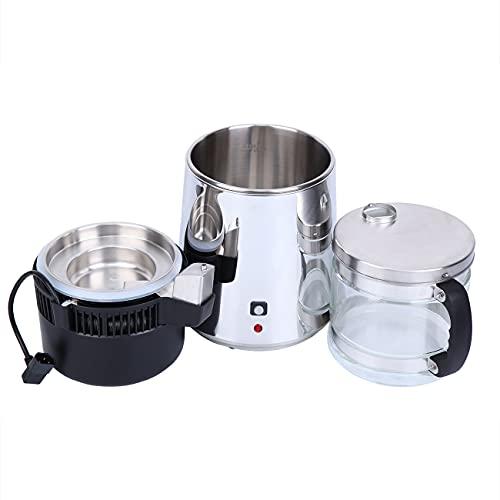 Youwise Portable Destilador de Agua Acero Inoxidable 304, Automático Destilador de Agua Vidrio Recipiente 4 Litros, Purificador de Agua Domestico para Hogar, Oficina, Familia