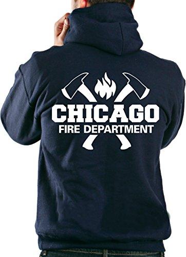 Veste sweatshirt à capuche Chicago Fire DepartmentAvec haches et emblème du CFD Small bleu marine