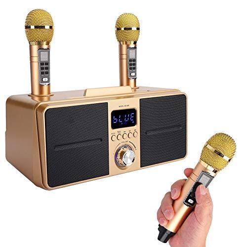 Kit di altoparlanti con due microfoni, attrezzatura per karaoke wireless a casa, altoparlante Bluetooth multifunzionale a basso rumore, altoparlante per karaoke Bluetooth scheda audio live(Oro)