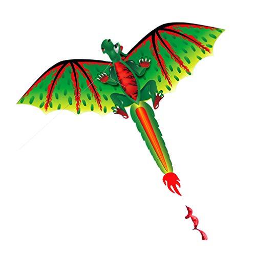 TOYANDONA 1 Juego de Cometas de Dragón con Mosca de Una Sola Línea Cometas de Dinosaurio de Dibujos Animados para Niños Cometas de Cola Larga Fáciles de Volar para Jardín Y Familia Juguetes