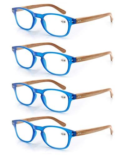 MODFANS Confezione da 4 occhiali da lettura 1.25 per uomo/donna, Cerniera a molla,leggera,effetto legno, lente trasparente con custodia,blu
