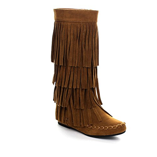 I LOVE KIDS Ava-18K Children's 3-Layers Fringe Moccasin Style Mid-Calf Boots,Rust,11
