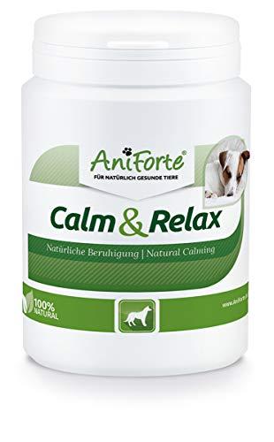 AniForte natürliche Beruhigung für Hunde Calm & Relax 100g - Natürliches Beruhigungsmittel zur Entspannung & Ruhe, Heilpflanzen bei Angst, Stress, Unruhe, Überreizung, Nervosität, Silvester & Reisen
