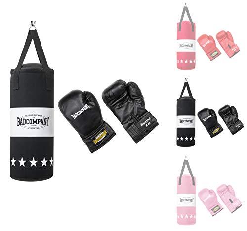 Bad Company Box-Set für Kinder und Jugendliche I Canvas Boxsack, gefüllt - inkl. Aufhängung I 8 OZ Boxhandschuhe I 55 x 25 cm – Schwarz