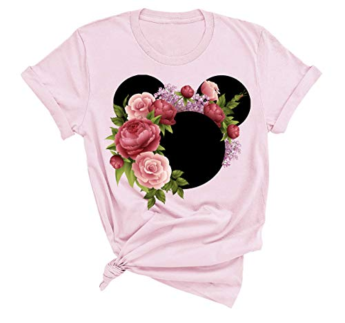Disney Women and Teen Floral Mickey Mouse Shirt Adult Women Ladies Boho Character Tshirt (Pink, Medium)