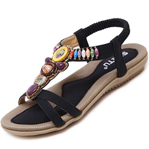 Offene Sandalen Damen Sommer Schuhe mit Strass Flach Bohemian Sandaletten Frauen mit Weiches Fussbett Outdoor Freizeit Strandschuhe Schwarz 35 EU