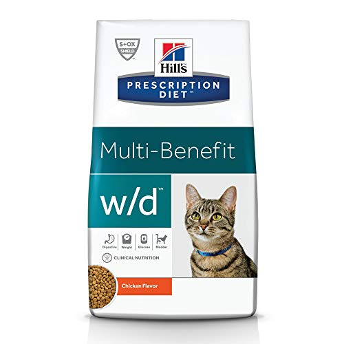 Hill's Prescription Diet W/D Multi-Benefit Digestive/Weight/Glucose/Urinary Management with Chicken Dry Cat Food, 4 lb Bag
