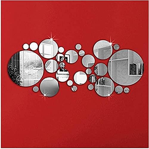 OMGAI Autocollant rond en forme de miroir pour la décoration de la maison 16 cm L x 16 cm W Argent