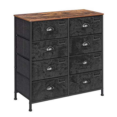SONGMICS Rustic Vertical Dresser Drawer, Storage Tower, Industrial Style Dresser Unit with 8 Fabric Drawers, Labels, Wooden Top, for Living Room, Entryway, Closet, Rustic Brown and Black ULVT24H