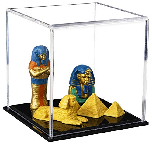 """Better Display Cases Versatile Acrylic Display Case, Cube, Dust Cover or Riser with Black Base 4"""" x 4"""" x 4"""" (A057-CDS)"""