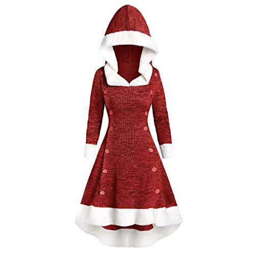 TEBAISE Weihnachtenkleid Damen Weihnachten Langarm Party Kleider Mit Kapuze Vintage Weihnachts Mittelalter Cosplay Kleider Miss Santa Claus Weihnachtsmann Kostüm Samt Christmas Weihnachtskleider Rot