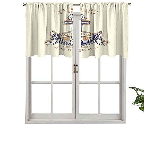Hiiiman Elegante cortina de bolsillo para barra, diseño de espíritu de marinero viejo firmemente anclada al océano, juego de 1, 91,4 x 45,7 cm, decoración del hogar para habitación de niños y niñas