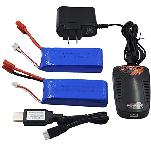 Blomiky 2 Pack 7.4V 2000mAh Lipo Battery Banana Connecdtor Plug and Charger fit for DRC-446 and S yma X8C X8W Quadcopter X8C Battery 2