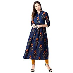 GULMOHAR JAIPUR Womens A-Line Cotton Kurti (Blue)