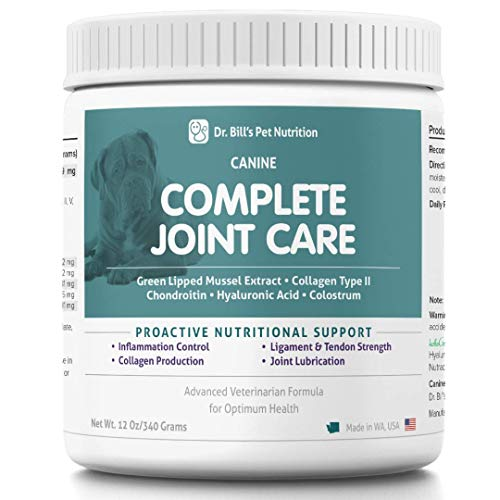 Dr. Bill's Canine Complete Joint Care Pet Supplement (340g) - MSM, Turmeric, Green Lipped Mussel Extract, Collagen, Omega 3 - Advanced Hip and Joint Supplement for Dogs with Arthritis