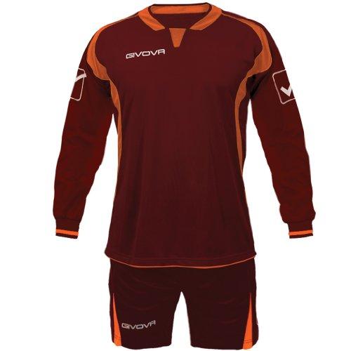 Givova Fußball-Set, langärmlig, Farbe Granat, Orange, Größe XS
