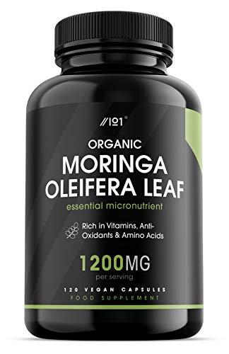 Organic Moringa Capsules - 1200mg - Raw Moringa Oleifera Leaf - Rich in Vitamins, Antioxidants & Amino Acid - Non-GMO, Gluten Free, 120 Vegan Caps