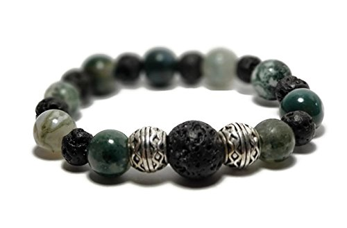 Fancy Jasper Gemstone Aromatherapy Bracelet with Silver Plated Celtic Rondelles and Black Lava Beads for Essential Oil (7')