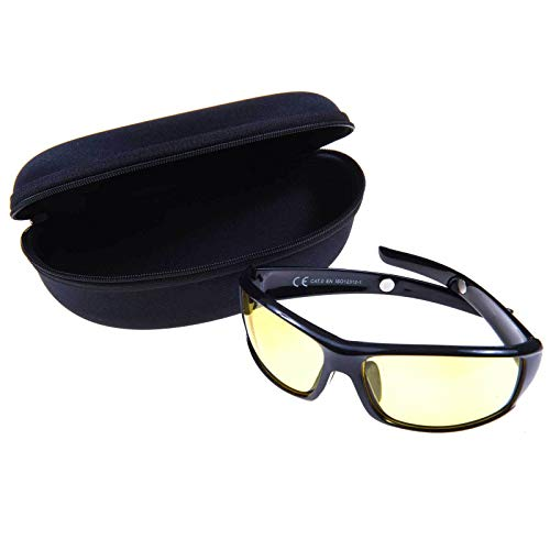 SIDCO Nachtsichtbrille UV Nachtfahrbrille Sonnenbrille + Box Etui Kontrastbrille