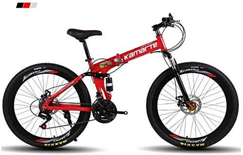 giyiohok Mountainbike Herren Mountainbike 26 Zoll 3-Speichen-Räder Rahmen aus kohlenstoffhaltigem Stahl 21/24/27 Speed Dual Suspension Faltrad Unisex mit Scheibe-27 Geschwindigkeit_rot