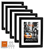 "CAVEPOP 11x14 Black Wood Textured Picture Frames 5-Sets, Made to Display (12.5x15.5"" Ivory Color Mat 11x14"") Collage Picture Frame Sets"