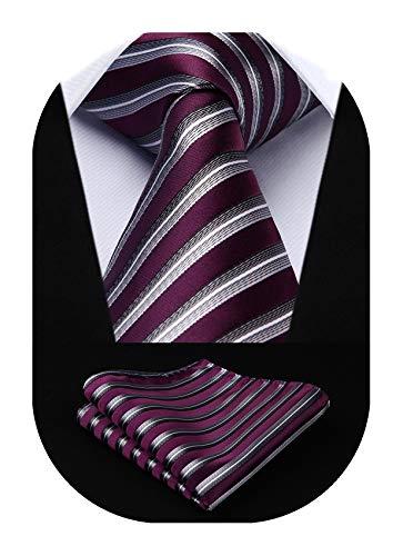 HISDERN Striped Tie for Men Handkerchief Woven Classic Men's Necktie & Pocket Square Set Purple