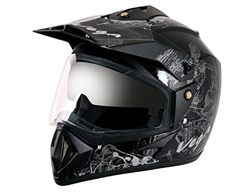 Vega Off Road OR-D/V-SKT-KS_M Sketch Full Face Graphic Helmet (Black and Silver,...