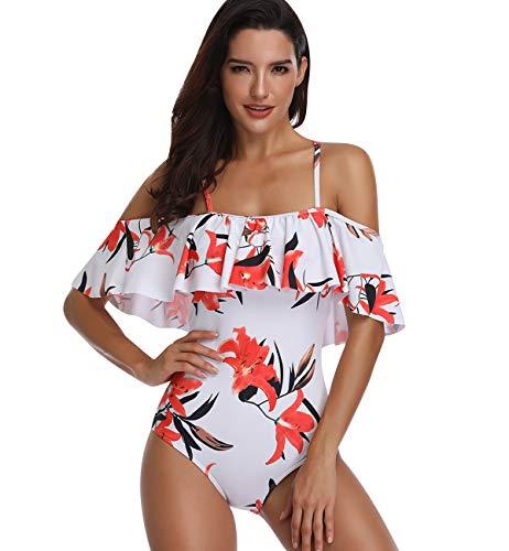 Bandeau Badeanzug Push Up Damen Mädchen mit Bügel Figurformend Rüschen Trägerlos Blumen Große Größen Monokini Bademode Frauen Bikini Schlankstütz Badeanzüge Einteiler Schwimmanzug Shape Bauchweg XL