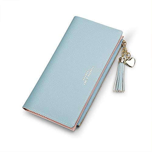 Wallets for Women Leather Cell Phone Case Holster Bag Long Slim Credit Card Holder Cute Minimalist Coin Purse Thin Large Capacity Zip Clutch Handbag Wallet for Girls Ladies (Blue)