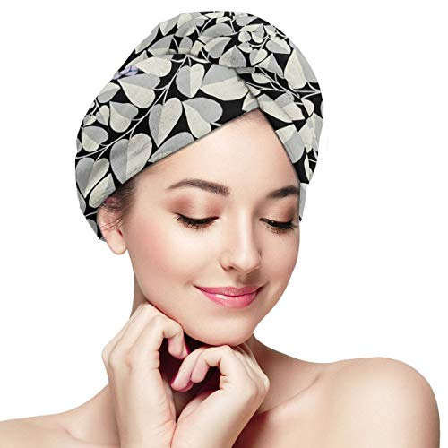 Rustic Colorful Retro Flower Leaves Microfiber Dry Hair Cap for Bath Spa Soft Super Absorbent Quick Drying Towel Wrap Wet Hair Turbans 11 inch X 28 in