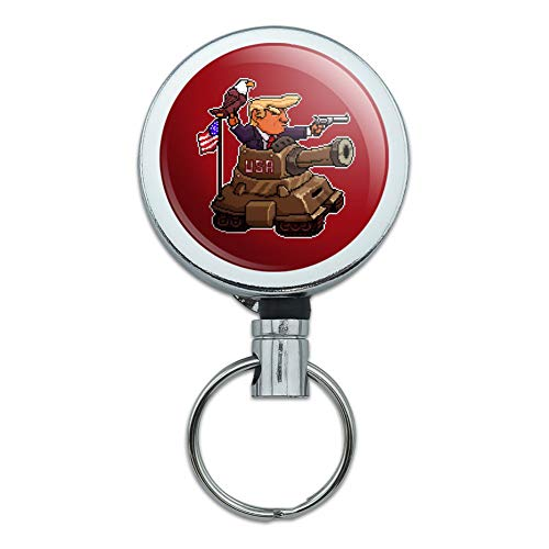 Patriotic Pixel Trump in Tank with American Eagle Flag Heavy Duty Metal Retractable Reel ID Badge Key Card Tag Holder with Belt Clip
