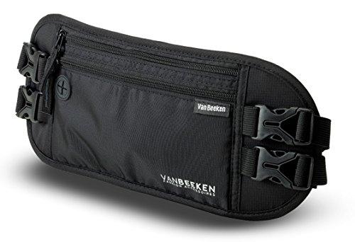 Flache Bauchtasche Hüfttasche mit RFID Blocker und 2 Hüftgurten für Damen und Herren I...