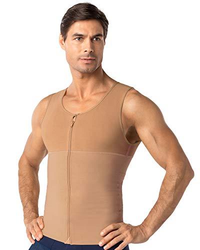 LEO Workout Vest Shapewear for Men - Compression Posture Corrector Body Shaper Beige