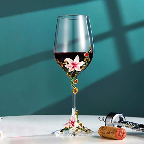 Vaso de vino pintado a mano con flores coloridas Ginebra globo de vidrio Copa novedad regalo para cumpleaños, bodas, día de San Valentín, 11 oz sin plomo (lirio rosado)