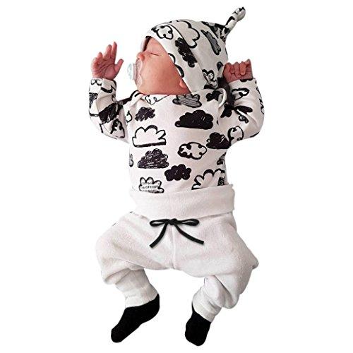QinMM Babykleidung Satz, Neugeborenes Baby Mädchen Jungen Niedlich Wolken Druck Lange Ärmel T-Shirt Tops + Hosen Ausstattungs Kleidung Satz (0-18Monate) (0-3M, Weiß)