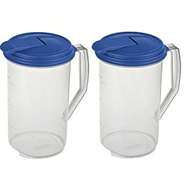 Sterilite 2 Quart Round Plastic Hinged Pitcher, Sky Blue Lid | 04864106 (pack of 2)