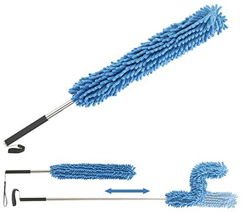 Sichler Haushaltsgeräte Staubwedel ausziehbar: Formbarer Mikrofaser-Staubwedel mit Teleskop-Griff, bis 135 cm (Teleskop-Staubwedel extra lang)