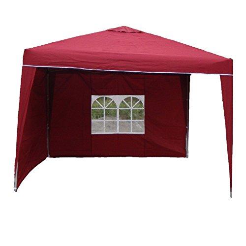 Linder Pavillon Alu 3x3x2,6m Faltpavillon wasserdicht Polyester 2Seitenteile Partyzelt, Farbe:rot